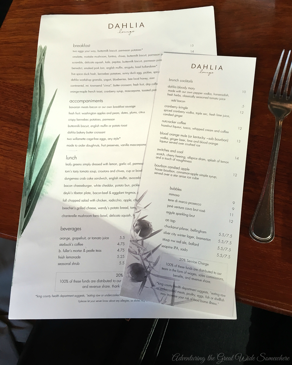 Brunch Menu at Seattle's Dahlia Lounge, December 2016