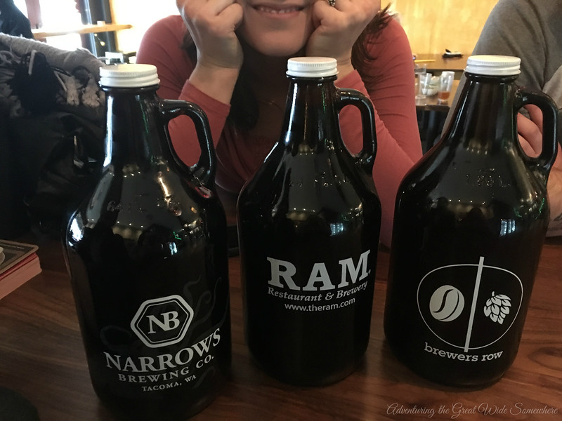 Beer and Cider Growlers from Brewer's Row in Tacoma, Washington