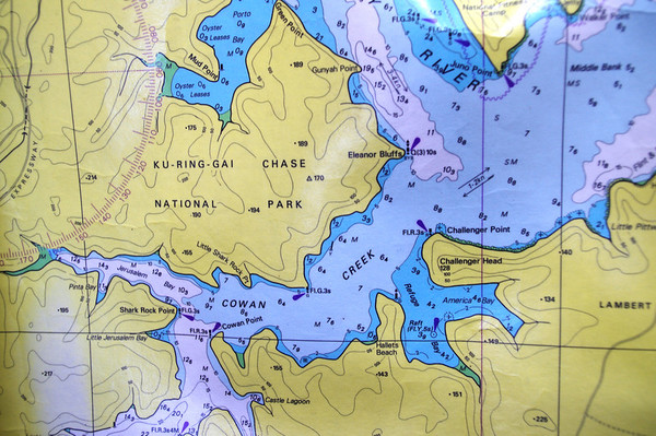 Part of a nautical map of the area visited