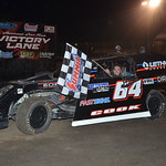 The son of the late Gary Cook Jr, a three time Fairbury track champion and UMP national champion, took a heat race win. It was his first ever win at Fairbury and drew a standing ovation from the race fans.