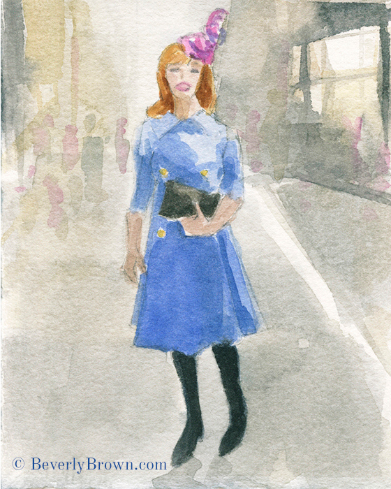 Pink & Purple Cocktail Hat - A whimsical watercolor sketch of New York's Easter Parade and Bonnet Festival by artist Beverly Brown. www.beverlybrown.com