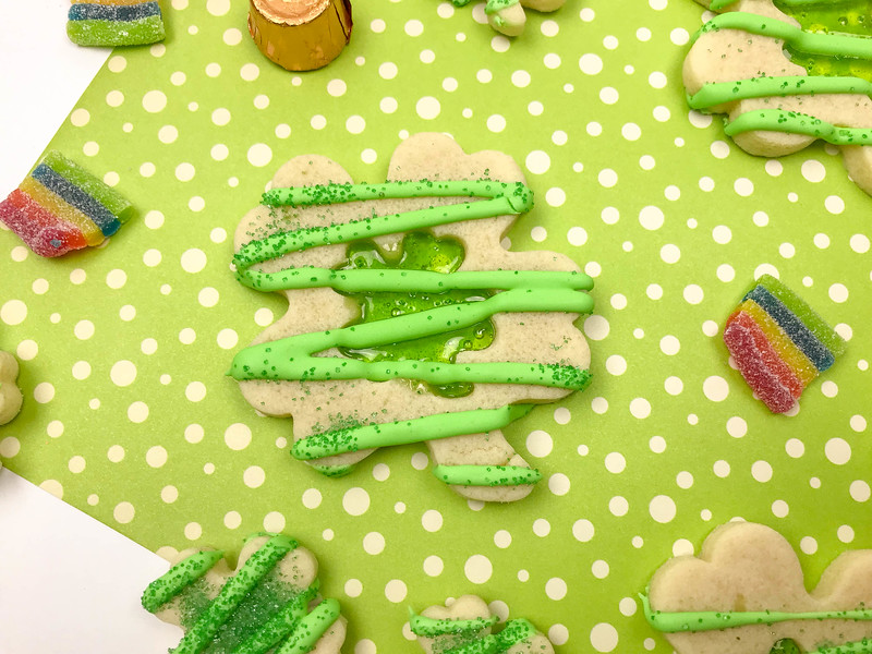 finished St. Patrick's Day stained glass cookies