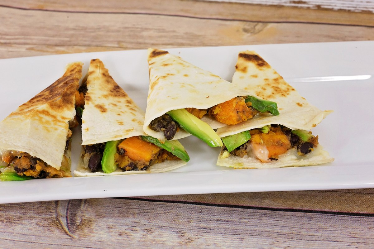 Avocado, Black Bean and Sweet Potato Quesadillas