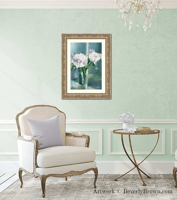 Elegant chic mint green living room decor featuring white peony art print in a gold frame by Beverly Brown. Framed art and canvas prints in multiple sizes and framing options for sale at www.beverlybrown.com