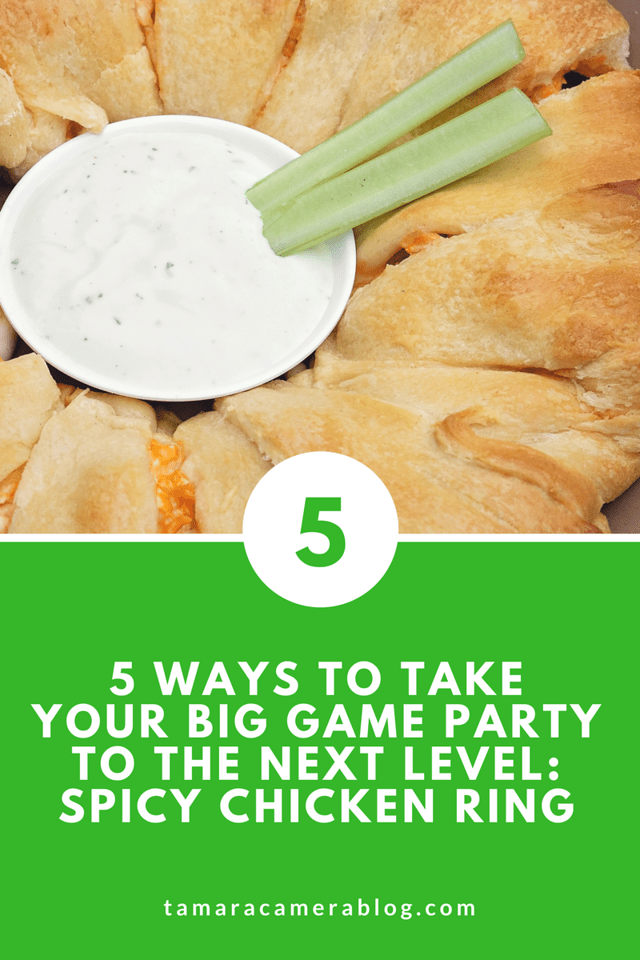 Boy do I have a TREAT for you! Planning a big game party? Us too. This Spicy Chicken Ring uses crescent roll dough, cooked chicken, hot sauce, and some good cheeses to be the meltiest, breakiest, most appetizing party recipe. Plus, find out four other ways to have a next level party! #ad #TheOtherBowl
