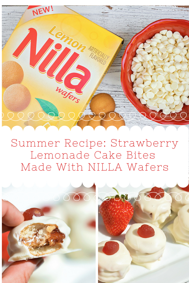 Something good to share this July 4th! These Strawberry Lemonade Cake Bites are made with NILLA Wafers and make a fun #recipe. #ad #NILLASummerParty #IC