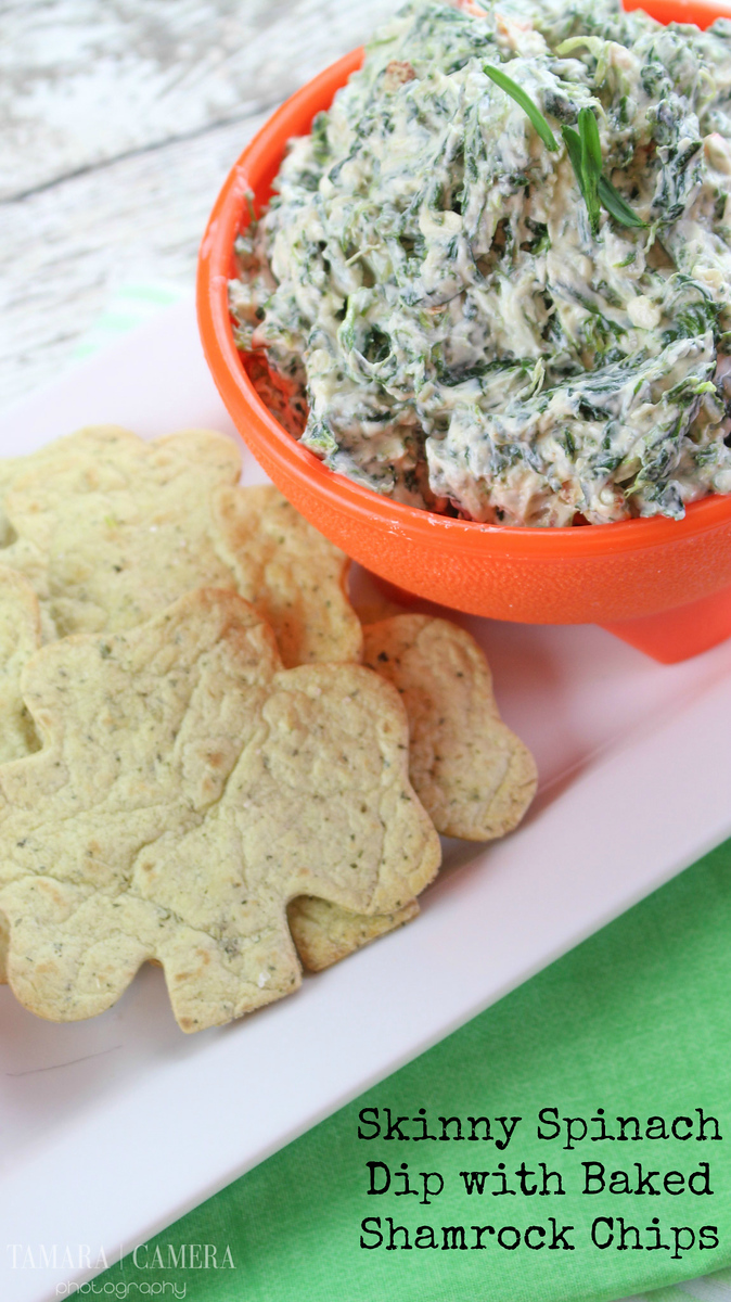 Are you ready for #StPatricksDay? This #recipe for Lighter Spinach Dip with Baked Shamrock Chips will be a hit and is a winter party favorite