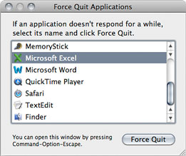 Force Quit Application dialog box