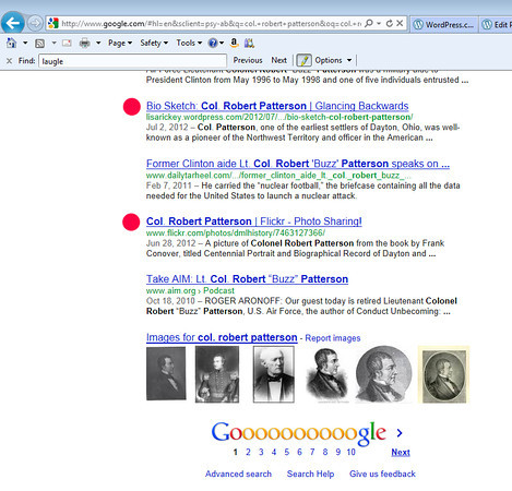 Google search for Col. Robert Patterson