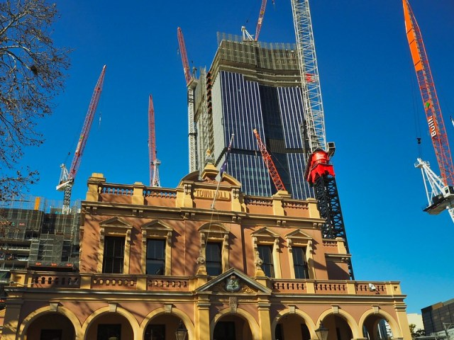 I kicked off my bicycle ride in Parramatta near the Town Hall - here pictured with cranes and a new building under construction in the background
