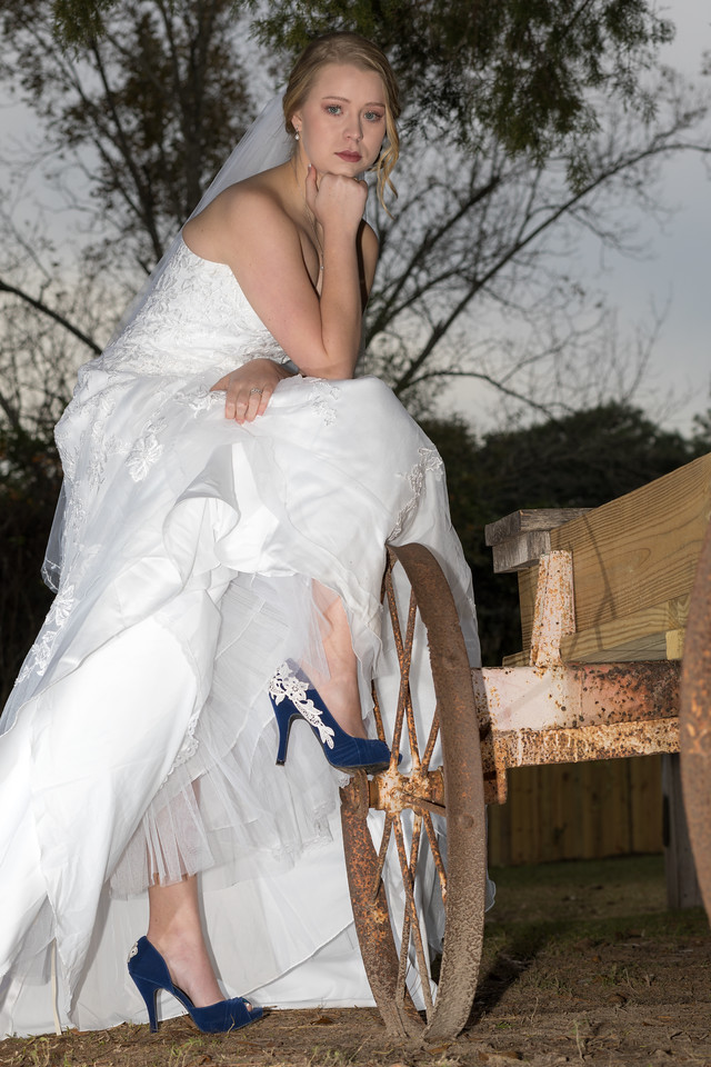 Photographed in December.  If the bride is going to wear great shoes, I must find a way to show them off!