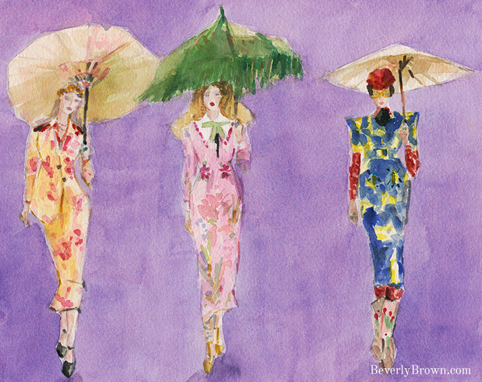 Alessandro Michele's ready to wear collection for Gucci Fall/Winter 2017 - watercolor fashion sketch by Beverly Brown - www.beverlybrown.com