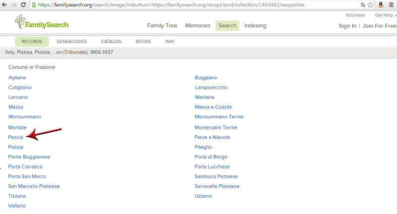 List of comuni (towns) in the Pistoia Courthouse (Tribunale di Pistoia) records on FamilySearch.org