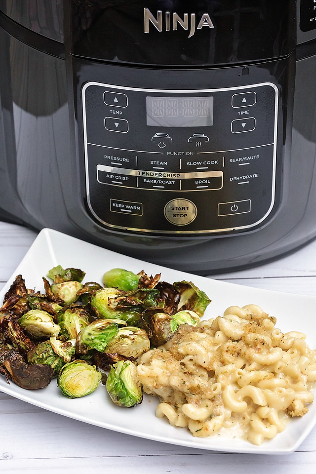 This pressure cooker Mac and Cheese and Brussel Sprouts are both made in the Ninja Foodi Pressure Cooker and they're AMAZING! #ad #NinjaFoodi #sponsoredbyNinja