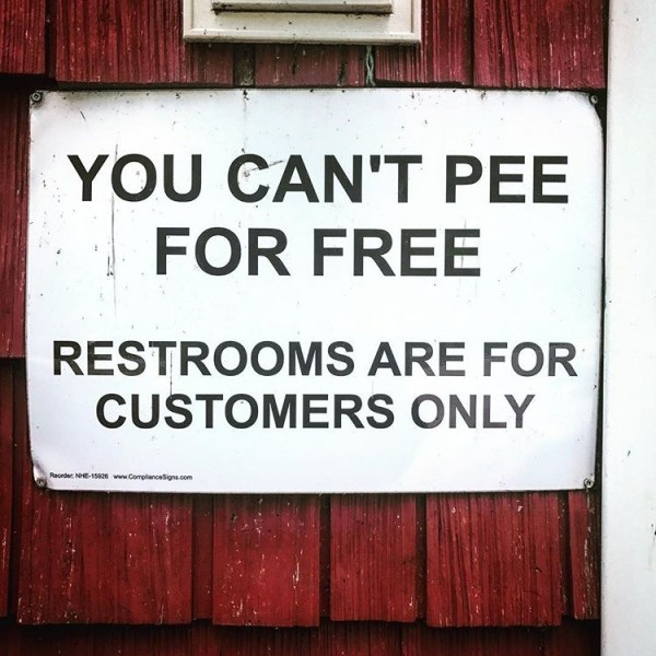 you cant pee for free sign