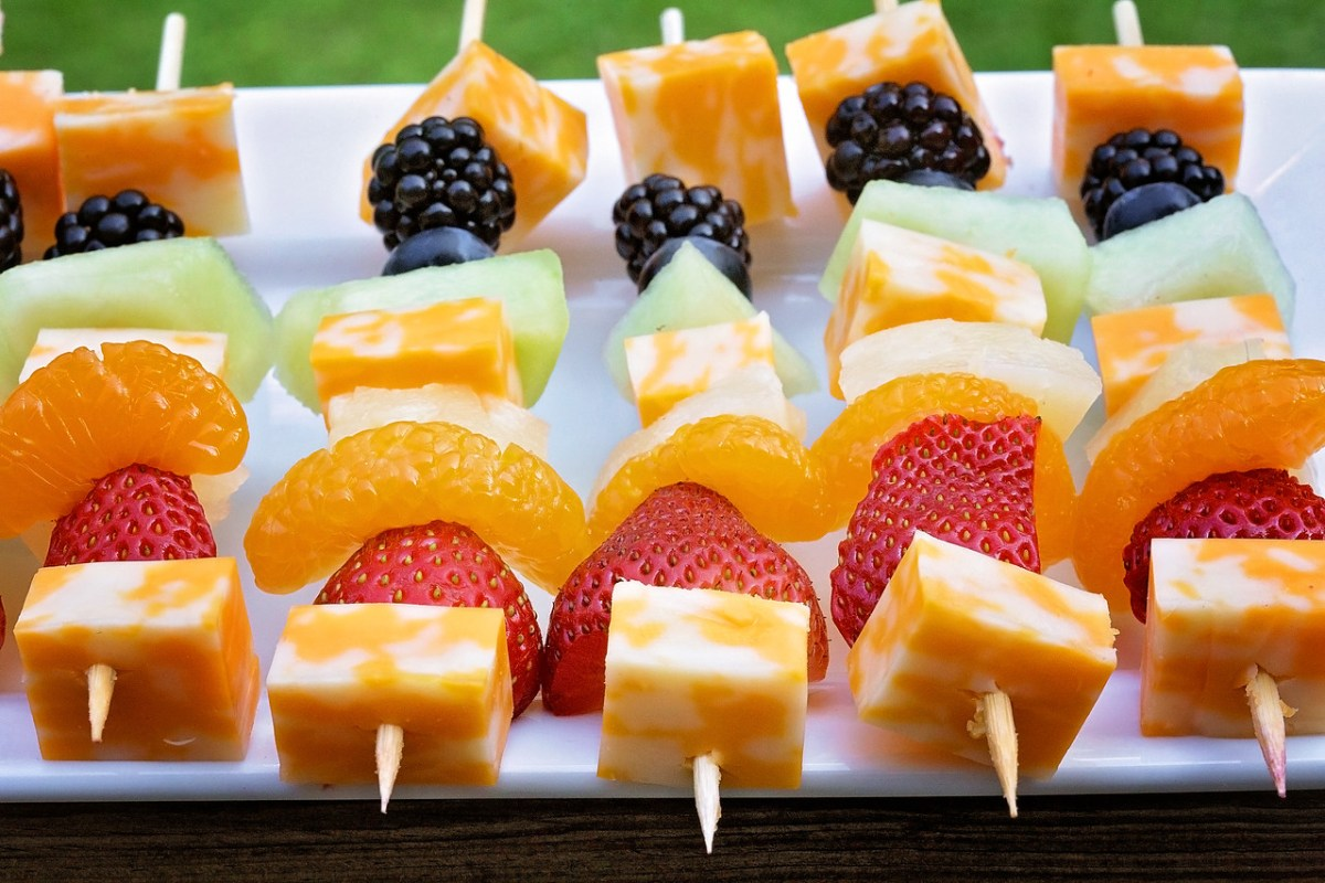 Rainbow Fruit & Cheese Kabobs with Cinnamon Honey Yogurt Dip