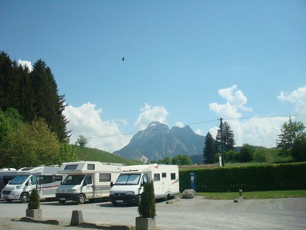 Fussen Stelplatz and view of mountains Fussen
