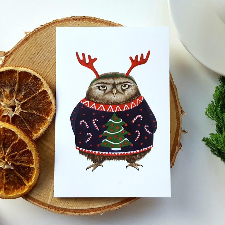 nicola allen art grumpy owl 2019