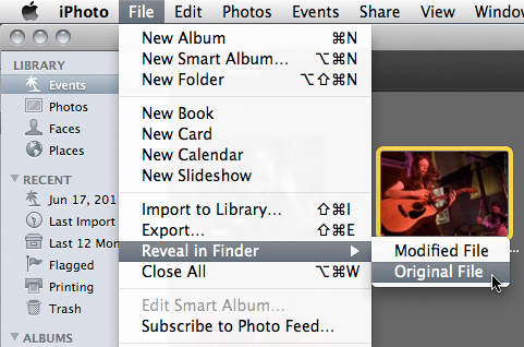 Reveal commands in iPhoto