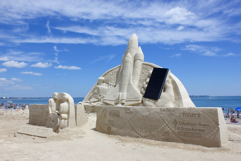 sculpture of space shuttle and iphone at Revere Beach international sand sculpting festival