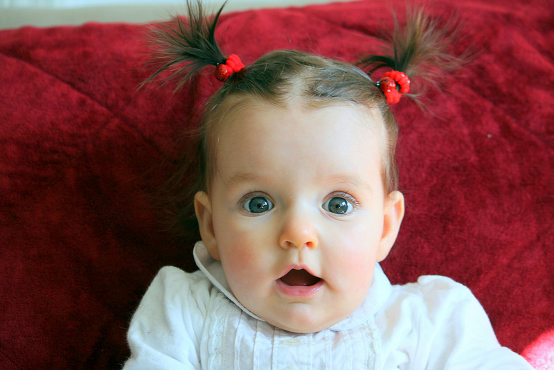 baby girl with pigtails