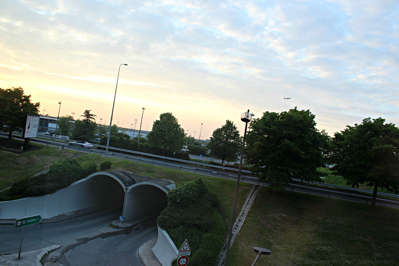 Awesome view from our room at airport hotel Ibis Styles CDG in France.