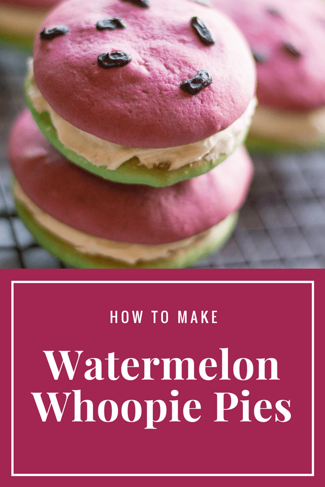 These Watermelon Whoopie Pies are stunning, and are the perfect summer treat for ANY occasion. Think summer dessert, think summer party, & think watermelon!