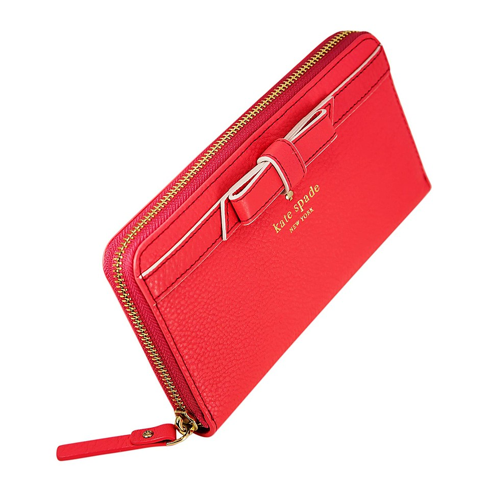 Kate Spade Cobble Hill Bow Lacey Zip Around Women's Bright Geranium Leather Wallet