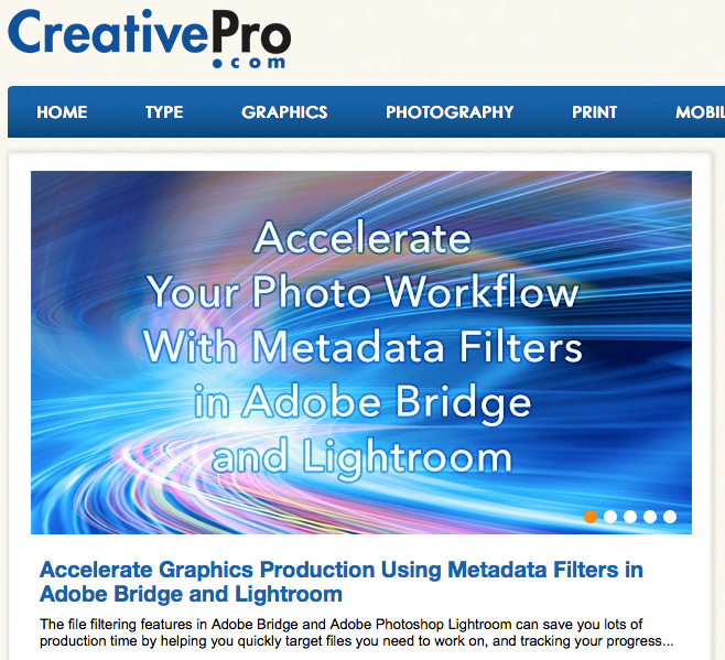 Accelerate Graphics Production Using Metadata Filters in Adobe Bridge and Lightroom on CreativePro.com