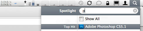 Spotlight launching Photoshop by typing one letter