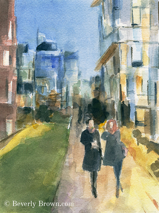 New York wall art featuring a couple walking along the High Line at as night falls. This romantic NYC cityscape is by New York artist, Beverly Brown. Framed prints and canvas wall art from her original watercolor painting are for sale at www.beverlybrown.com