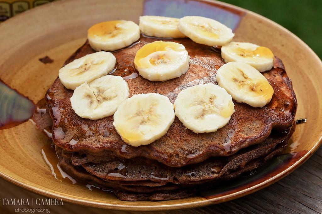 Chocolate Banana Oatmeal Pancakes