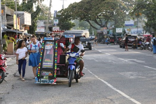 Tricycles and habal-habals are popular means of local transport in Oslob