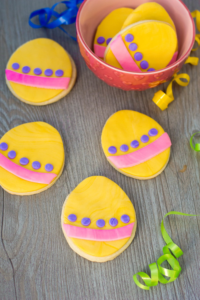 Easter Egg Sugar Cookies are the quintessential Easter cookie! They're a great way to practice using different colors of fondant to make something so pretty