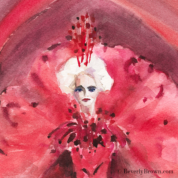 Carmen Dell'Orifice at age 85 models for designer Gui Pei at Paris Couture Fashion Week - watercolor fashion sketch by Beverly Brown - www.beverlybrown.com