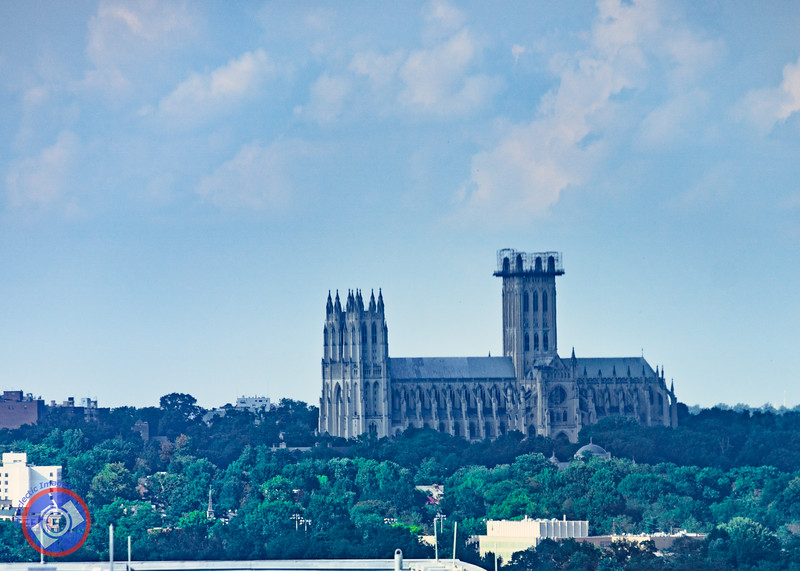 View of the National Cathedral from the Observation Deck at Central Place, Arlington cpyThe Wooden Bench that Encircles the Observation Deck at Central place, Arlington (©simon@myeclecticimages.com)