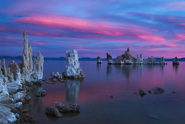 Mono Lake pink and blue sunrise by Ron Coscorrosa