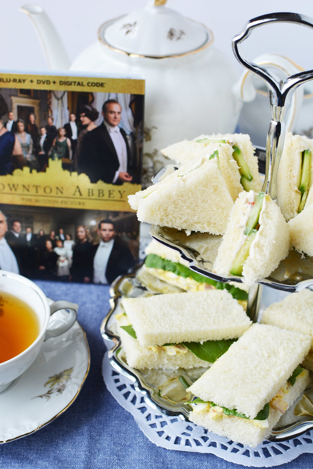 #ad Have a Downton Abbey Tea Party/Luncheon with the Downton Abbey DVD from Walmart, scones, and these 2 tea sandwich recipes #DowntonAbbeyAtWalmart #Pmedia