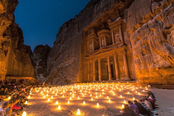 Candles at Petra Jordan by Michael Bonocore