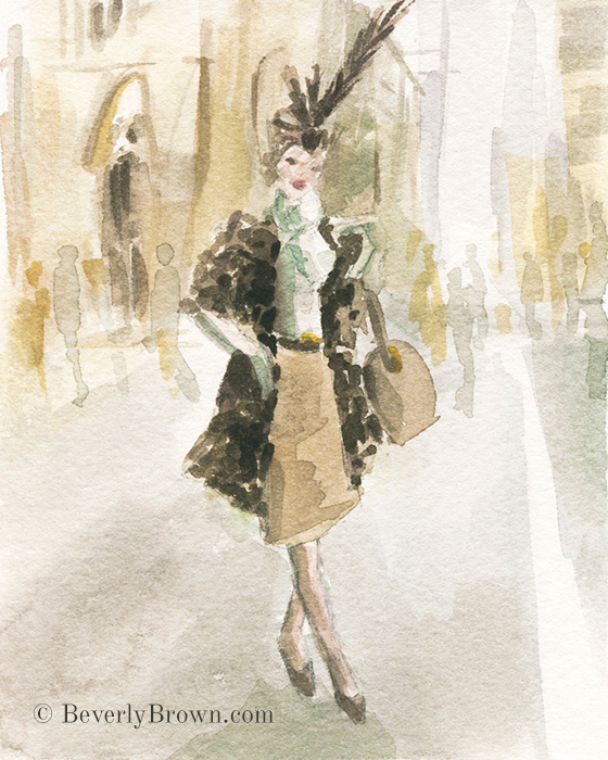 Vintage Chic Animal Print & Feather Hat - A whimsical watercolor sketch of New York's Easter Parade and Bonnet Festival by artist Beverly Brown. www.beverlybrown.com