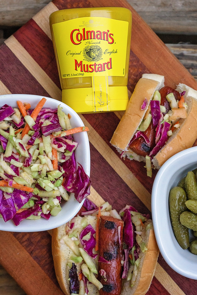This is the perfect summer #recipe if you like HEAT. Grill hot dogs and brats and top with spicy slaw! #ad #HotMessAround #ColmansMustard #ColmansMakesItHot