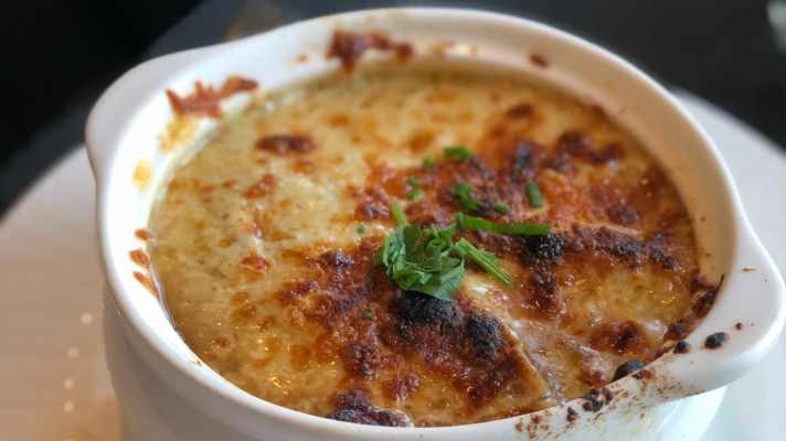 French onion soup at Le Sam in Fairmont Chateau Frontenac