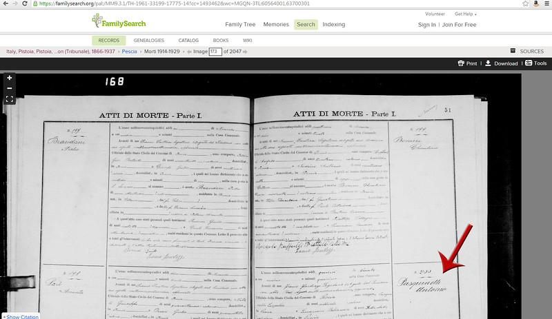Atti di Morte, Pescia, Italy, 1915, showing death record for Antonio Pasquinelli, from FamilySearch.org.