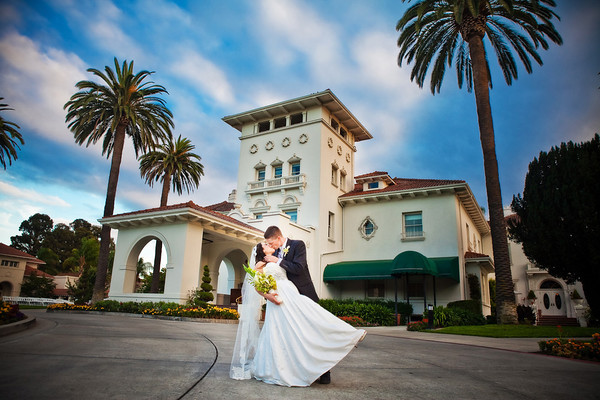 Wedding dip with palm trees by Brandon Busa