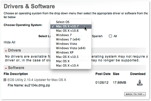 Canon DSLR software on the Canon USA web site