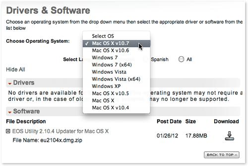 Canon DSLR software on the Canon USA web site