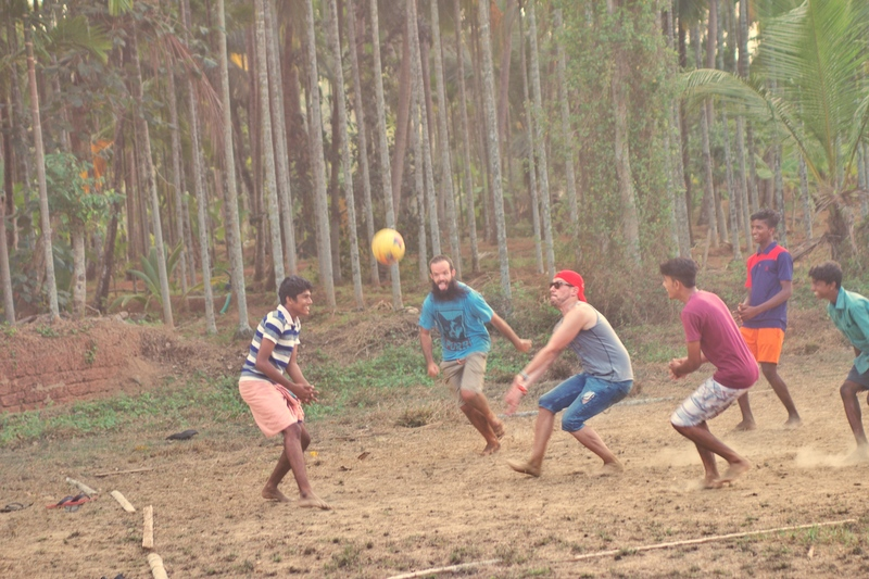 Playing volleyball in India