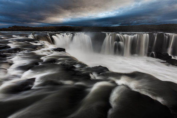 Selfoss Iceland black white and blue by Ron Coscorrosa