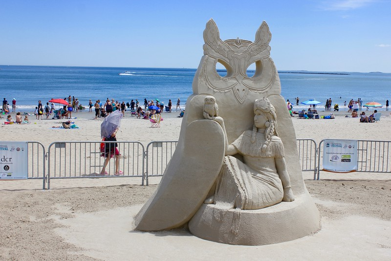 sand sculpture of owl at Revere Beach international sand sculpting festival