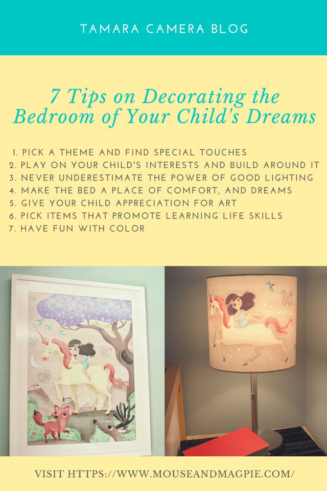 Looking to decorate, renovate, upgrade, or move your kid's bedroom? Here are 7 tips for creating/decorating the bedroom of their dreams. #ad #mouseandmagpie